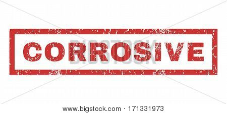 Corrosive text rubber seal stamp watermark. Caption inside rectangular banner with grunge design and dust texture. Horizontal vector red ink emblem on a white background.
