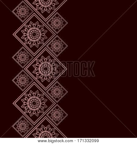 Rose golden frame in oriental style. Seamless border for design. Eastern background. Islamic card with place for text.