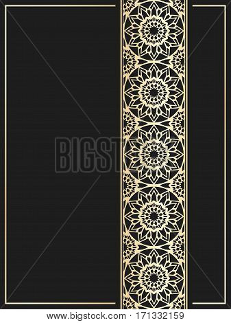 Islamic card. Golden border on black background. Vector template for restaurant menu. Wedding invitation in luxury style.