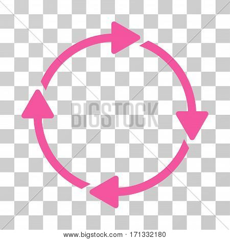Rotation icon. Vector illustration style is flat iconic symbol pink color transparent background. Designed for web and software interfaces.