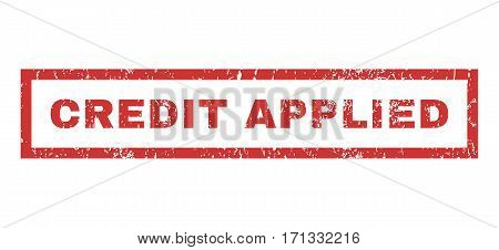 Credit Applied text rubber seal stamp watermark. Tag inside rectangular banner with grunge design and dust texture. Horizontal vector red ink emblem on a white background.