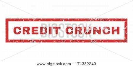 Credit Crunch text rubber seal stamp watermark. Tag inside rectangular shape with grunge design and scratched texture. Horizontal vector red ink sticker on a white background.
