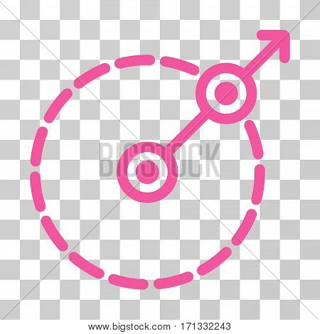 Round Area Exit icon. Vector illustration style is flat iconic symbol pink color transparent background. Designed for web and software interfaces.