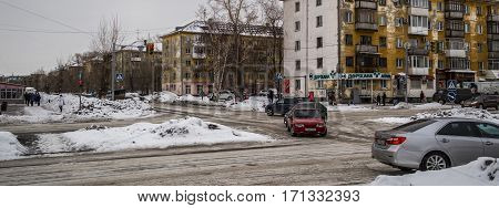 Kazakhstan, Ust-Kamenogorsk, 2 february, 2017: One of the main streets of the city at lunchtime, urban landscape