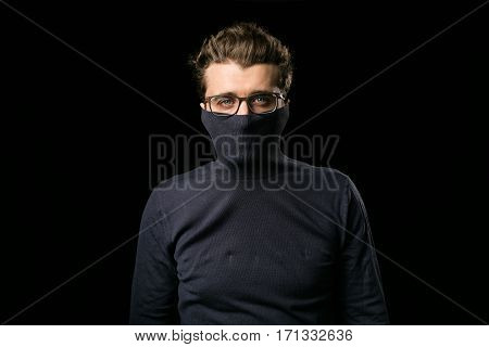 Smart Guy With Glasses And Mouth Covered