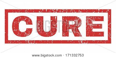 Cure text rubber seal stamp watermark. Tag inside rectangular shape with grunge design and unclean texture. Horizontal vector red ink emblem on a white background.