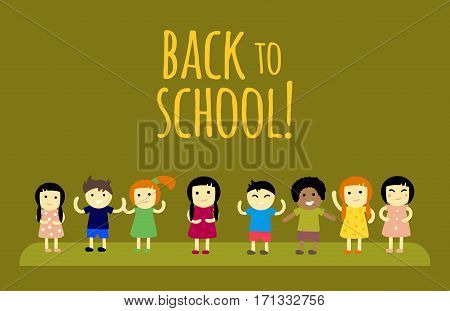 Group of school kids together. Different nations happy character back to school concept vector. Little cute primary positive smiling children.