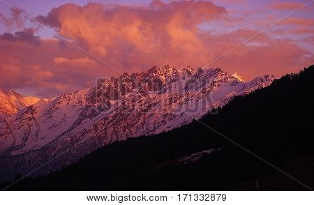 Himalayas snow mountain view from Auli India