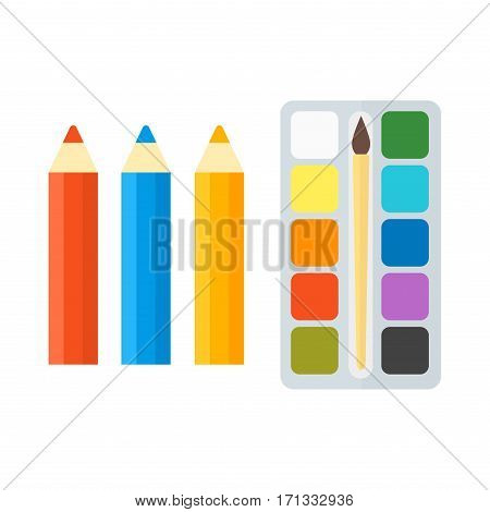 Vector pencils and paints illustration office supply writing bright design. Colored wooden school stationery education equipment and color education drawing art instrument.