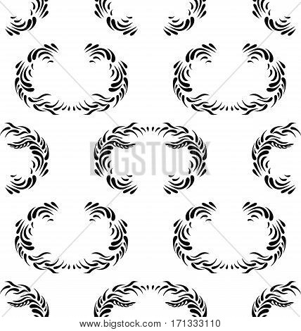 Black seamless floral pattern on white background. Black and white leaves seamless pattern, vector