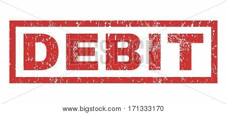 Debit text rubber seal stamp watermark. Tag inside rectangular shape with grunge design and dust texture. Horizontal vector red ink sticker on a white background.