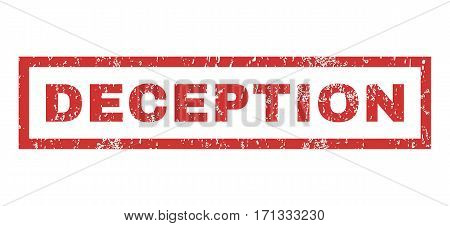 Deception text rubber seal stamp watermark. Caption inside rectangular banner with grunge design and unclean texture. Horizontal vector red ink sign on a white background.