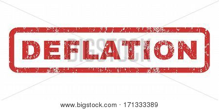 Deflation text rubber seal stamp watermark. Tag inside rectangular banner with grunge design and scratched texture. Horizontal vector red ink sign on a white background.
