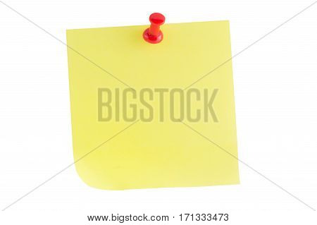 Yellow stick note with red Thumbtack Isolated on white background.
