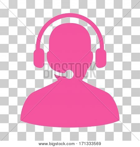 Telemarketing icon. Vector illustration style is flat iconic symbol pink color transparent background. Designed for web and software interfaces.