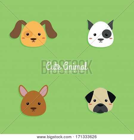 Abstract cartoon dog faces on a green background