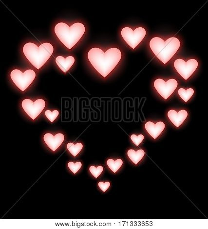 Self-illuminated pink hearts like frame on black background
