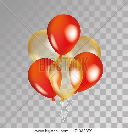 Gold and red balloon on background. Party balloons for event design. Transparent balloons isolated in the air. Party decorations for birthday, anniversary, celebration. Shine transparent balloon.