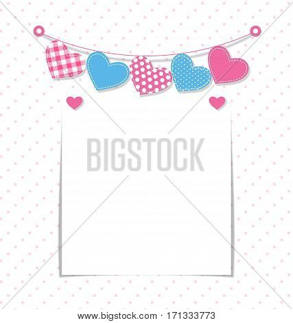 Paper frame with stitched hearts buntings garlands on white background in peas