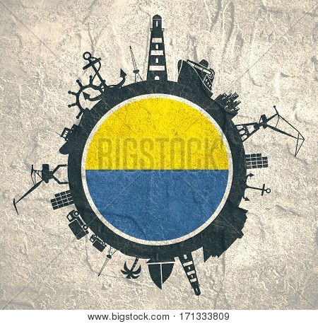 Circle with sea shipping and travel relative silhouettes. Concrete texture. Objects located around the circle. Industrial design background. Algeciras flag in the center.