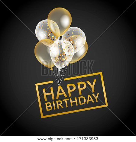 Balloons happy birthday on black. Gold balloon sparkles holiday background. Happy Birthday to you logo, card, banner, web, design. Happy Birthday and new year card. Gold white transparent balloon background