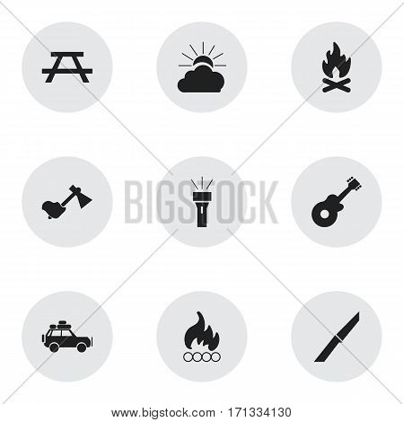 Set Of 9 Editable Trip Icons. Includes Symbols Such As Voyage Car, Sunrise, Musical Instrument And More. Can Be Used For Web, Mobile, UI And Infographic Design.
