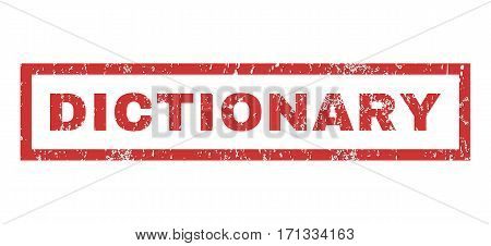 Dictionary text rubber seal stamp watermark. Tag inside rectangular banner with grunge design and dust texture. Horizontal vector red ink sign on a white background.