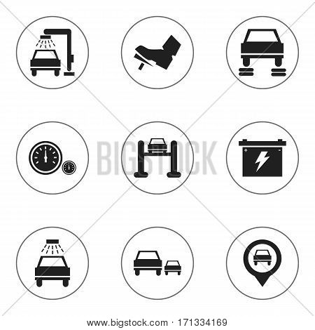 Set Of 9 Editable Vehicle Icons. Includes Symbols Such As Auto Repair, Pointer, Vehicle Wash And More. Can Be Used For Web, Mobile, UI And Infographic Design.