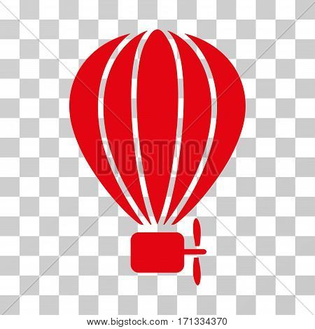 Aerostat Balloon icon. Vector illustration style is flat iconic symbol red color transparent background. Designed for web and software interfaces.