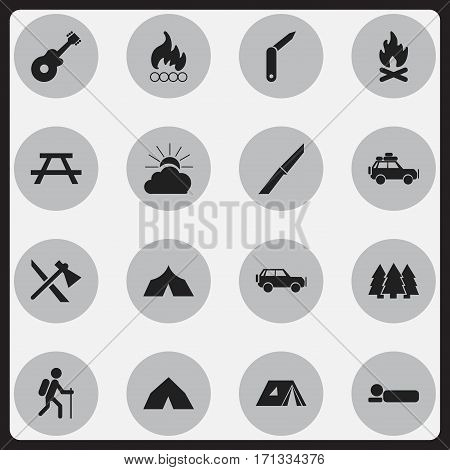 Set Of 16 Editable Camping Icons. Includes Symbols Such As Gait, Blaze, Knife And More. Can Be Used For Web, Mobile, UI And Infographic Design.