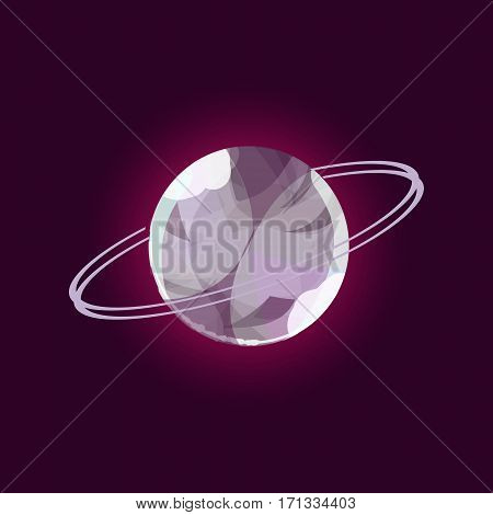 Fantasy planet logo. Flat style vector illustration for games and apps. Grey glass planet on black background.