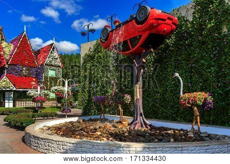 Dubai, UAE - January 5, 2017.   Dubai Miracle Garden - Landscape flower arrangement with a car and a fountain. Dubai Miracle Garden is the largest natural flower garden in the world
