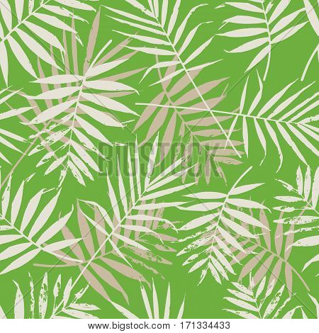 Greenery palm leaves seamless pattern. Color of the year 2017 background. Greenery trendy background.