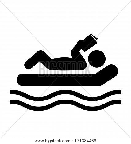 Summer Relax Swim Pictogram Flat People Read Book Icon Isolated on White Background