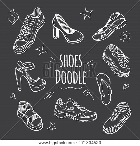 Boots doodle collection. Set of doodle shoes with sneakers loafers flip flops and sandals.Vector black and white illustration.