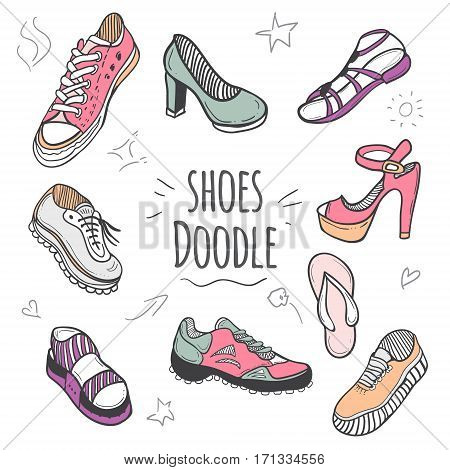 Boots colorful doodle collection. Set of doodle shoes with sneakers loafers flip flops and sandals.Vector pastel colors illustration.