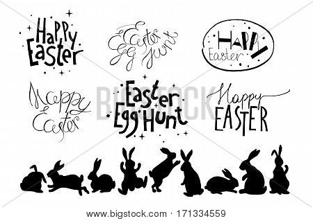 Set of unique Easter hand drawn design elements isolated on white background. There are frases Happy Easter and Easter Egg Hunt. 9 silhouettes of bunnies