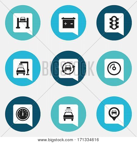 Set Of 9 Editable Car Icons. Includes Symbols Such As Speed Display, Stoplight, Tuning Auto And More. Can Be Used For Web, Mobile, UI And Infographic Design.