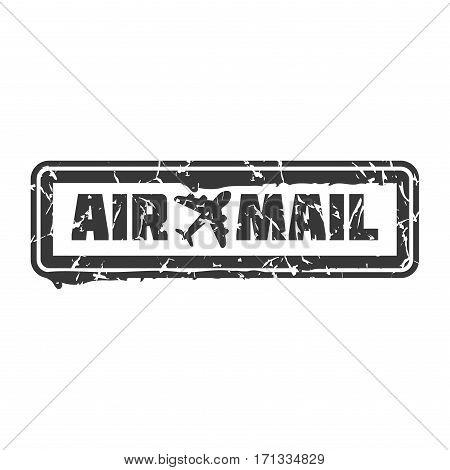 Vector vintage postage air mail stamp. Retro delivery envelope grunge print. Postmark design correspondence sign. Antique communication template texture. poster