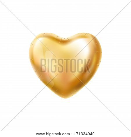 Heart Gold balloon on background. Frosted party balloons event design. Balloons isolated in the air. Party decorations for wedding, birthday, celebration, love, valentines. Shine transparent balloon