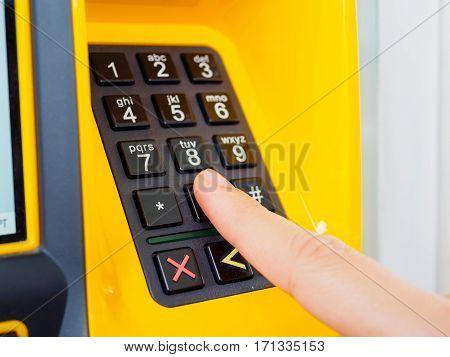The Finger press keypad at petrol station