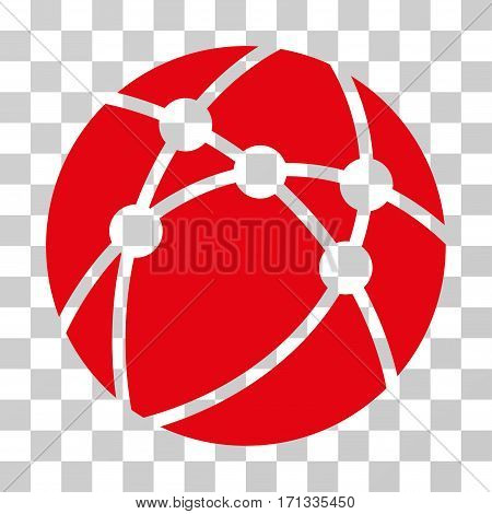 Browser icon. Vector illustration style is flat iconic symbol red color transparent background. Designed for web and software interfaces.