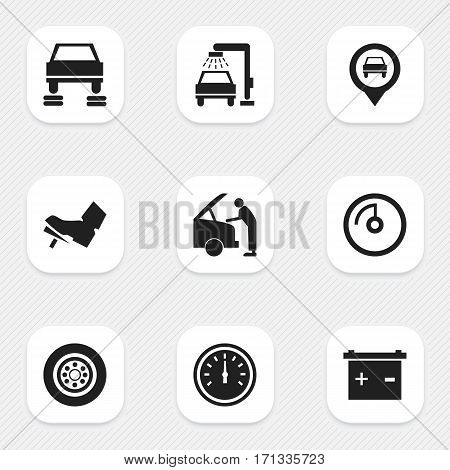Set Of 9 Editable Transport Icons. Includes Symbols Such As Speed Display, Speed Control, Vehicle Wash And More. Can Be Used For Web, Mobile, UI And Infographic Design.