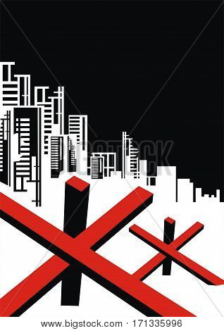 The city which has burned out, destroyed by bombings. Vector background. A template for an anti-war poster.