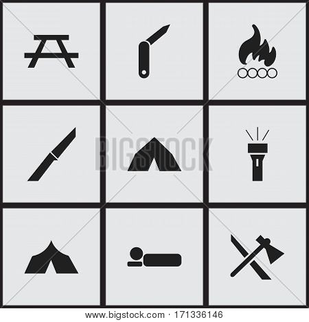 Set Of 9 Editable Camping Icons. Includes Symbols Such As Desk, Clasp-Knife, Lantern And More. Can Be Used For Web, Mobile, UI And Infographic Design.
