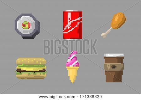 Set of pixel icons breakfast sweet sign. Fast food computer design symbol retro game web graphic. Vector illustration restaurant pixelated element.