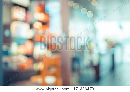 Blurred Background : Vintage Filter ,product Shelf And Customer In Coffee Shop Blur Background With