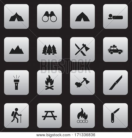 Set Of 16 Editable Camping Icons. Includes Symbols Such As Bedroll, Tepee, Fever And More. Can Be Used For Web, Mobile, UI And Infographic Design.