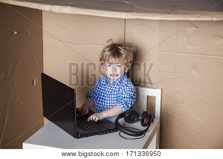 Businessman Child Is In Trouble With The Computer, Curve Face