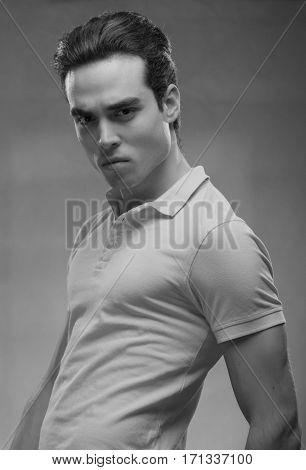 Man Model Posing Sideways, Upper Body Handsome